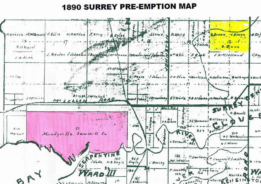 1890 Surrey preemption map
