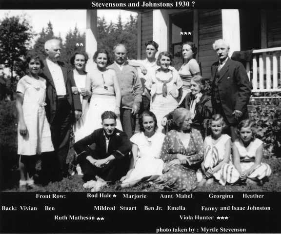 Stevenson and Johnson Family members