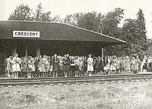 Camp members awaiting the train