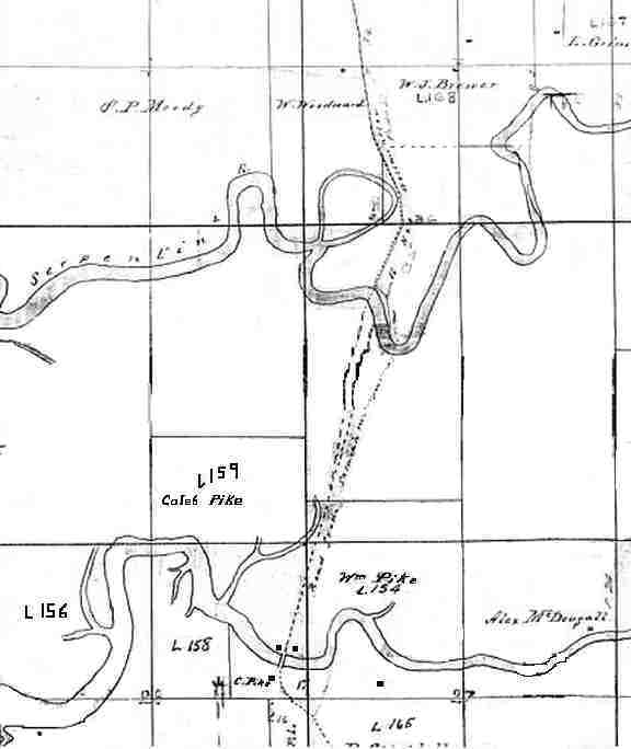 surveyor's map made by James Mahood in 1874