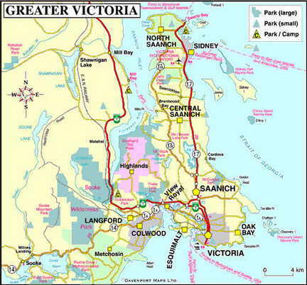 Map of Greater Victoria
